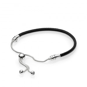 *당일발송*[PANDORA] 판도라 팔찌 Silver sliding bracelet with black leather 597225CBK